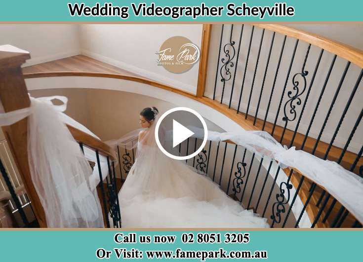 The Bride walking downstairs Scheyville NSW 2756