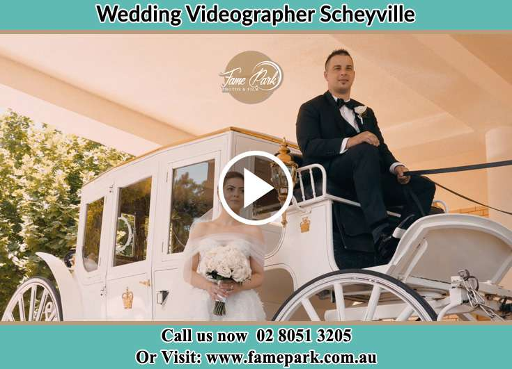 The Groom and the Bride and their wedding carriage Scheyville NSW 2756