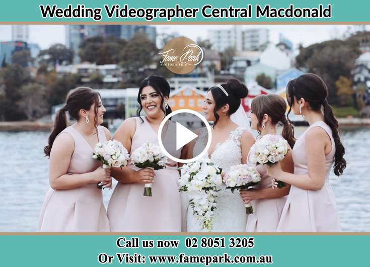 Bride and her secondary sponsors at the shore Central Macdonald NSW 2775