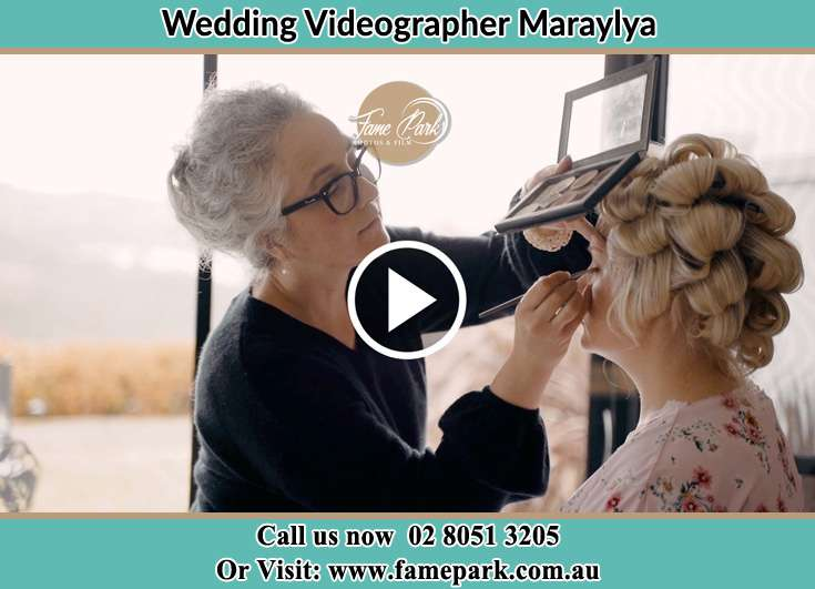 Bride getting make up done Maraylya NSW 2765